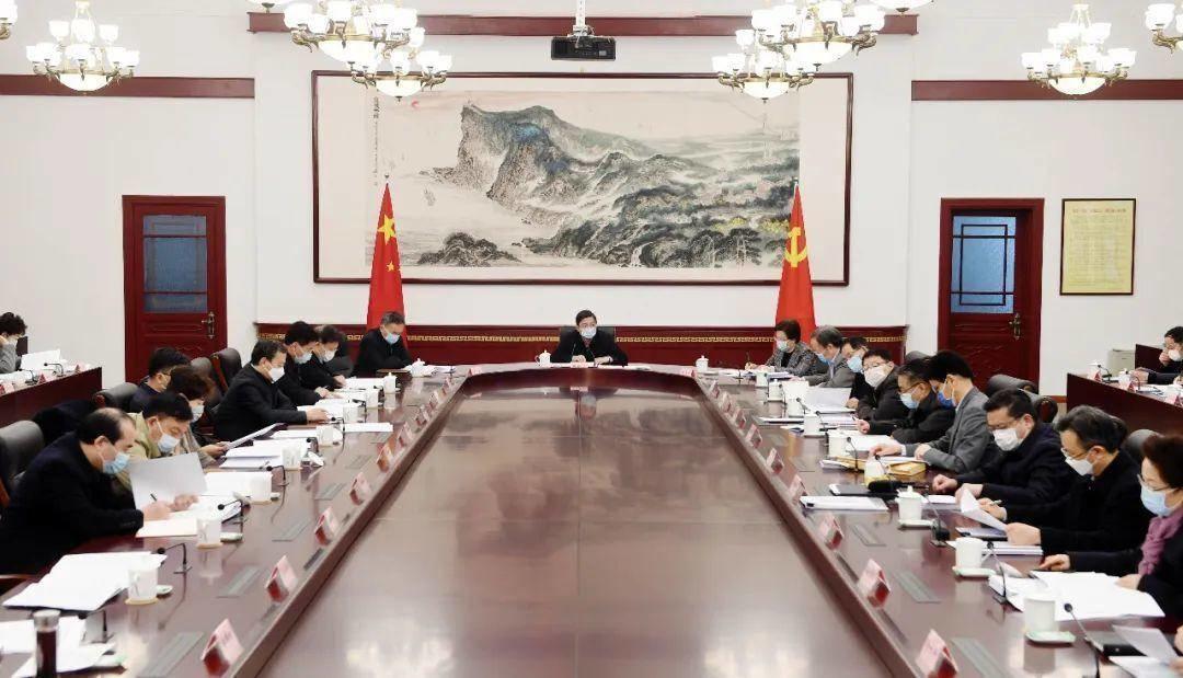 2月26日上午,南京市委常委会暨市委应对新冠肺炎疫情工作领导小组召开会议。南报融媒体记者 崔晓 摄